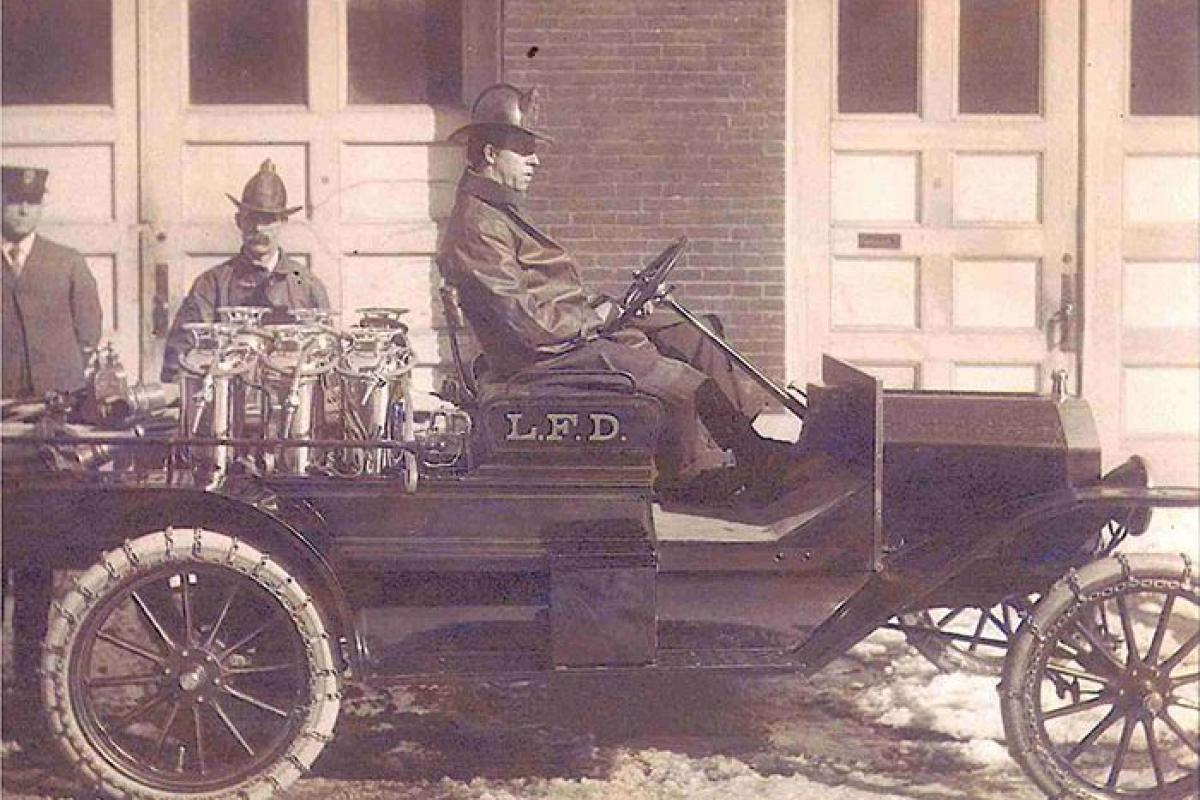 man in fire truck